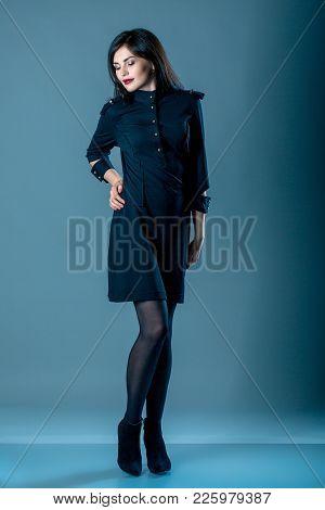 Fashion Style Woman Perfect Body Shape Brunette Hair Wear Black Dress Suit Elegance Casual Beautiful