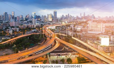 Highway Interchange Junction With City Downtown Background, Bangkok Thailand