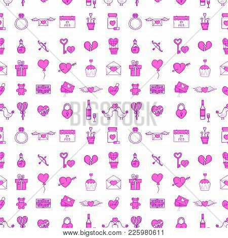 Wedding Outline Icons Seamless Pattern Background Vector Illustration. Married Celebration Music Gro