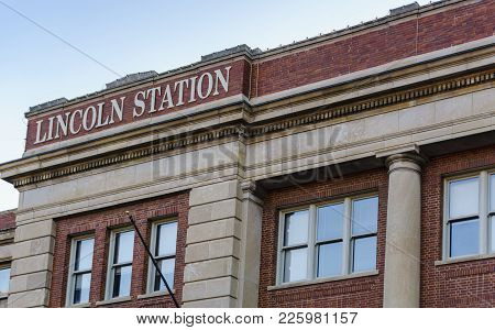 Nebraska, Usa - Aug 8, 2017: Lincoln Station Building In The Historic Haymarket District. Built By T
