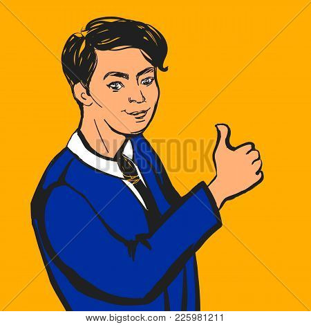 Vector Businessman Making Thumbs Up Sign. Hand Drawn Illustration.