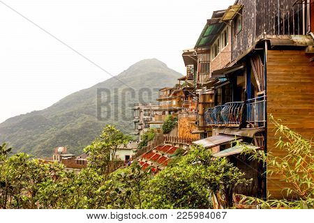 Lanscape Of Jiufen Restaurant Buildings On The Mountain