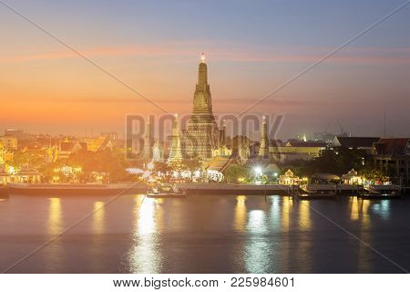 Arun Temple Historic Landmark River Front, Bangkok Thailand