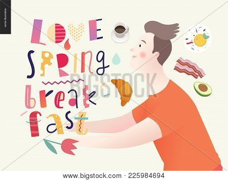 Love, Spring, Breakfast Lettering Composition And A Couple Running Towards Ro Each Other And A Set O