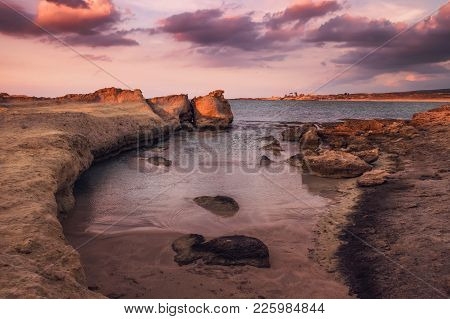 Halk Beach At The Northern Cyprus October Evening