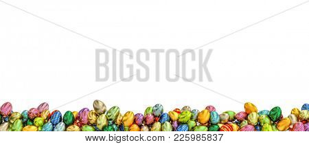 artistic easter eggs isolated on white background 3d rendering image