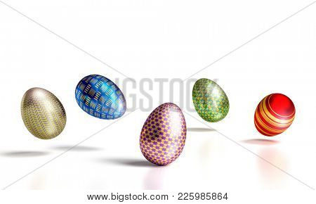 colorful artistic easter eggs on white background 3d rendering image