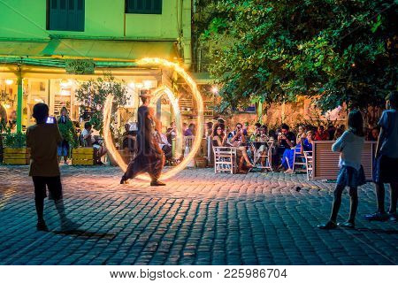 Street Entertainer On A Fire Show In Chania, Crete, Greece On August 20, 2017.