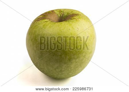 Green Apple With Fading From Above, Isolated On White Background