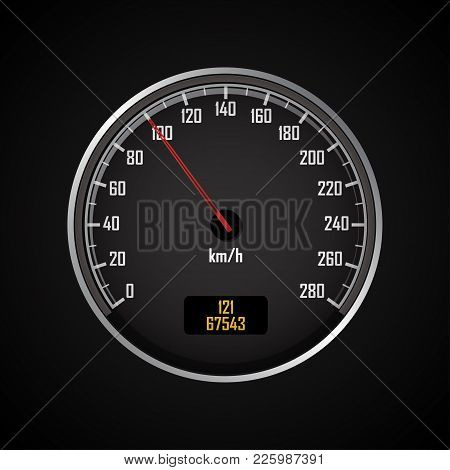 Speedometers. Round Black Gauge With And Without Chrome Frame. Vector 3d Illustration.