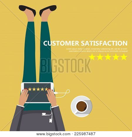 Rating On Customer Service Illustration. Woman Sitting On The Floor And Holding Tablet In Her Lap. W