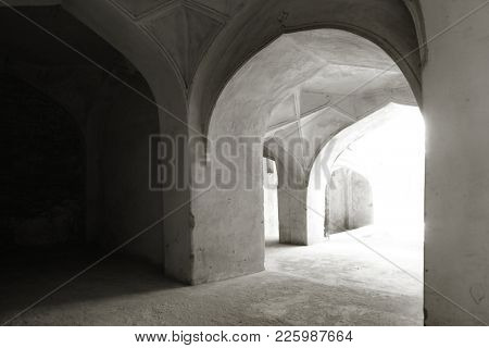 Arches of historic Golkonda fort in Hyderabad, India