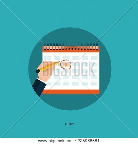Hand With Pen Mark Calendar. Flat Vector Illustration.