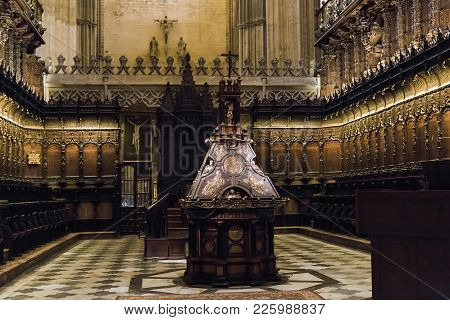 Seville, Spain - May 21, 2017: This Is The Choir Of The Main Nave In The Cathedral Of Seville.