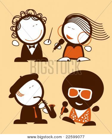 Set of singers funny people icons.