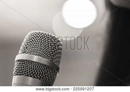 Smart Businesswoman Speech And Speaking With Microphones In Seminar Room Or Talking Conference Hall