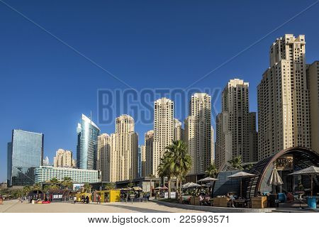 Dubai, Uae - January 07, 2018: : City Scenery Of Dubai Marina, Uae. Dubai Marina Is A District In Du