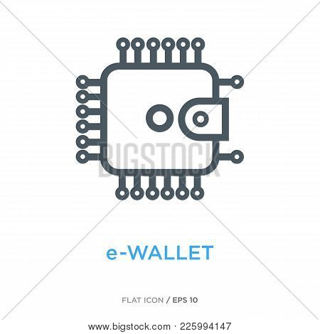 Wallet In The Shape Of Chip As E-wallet And E-money Symbol. Simple Line Flat Icon.