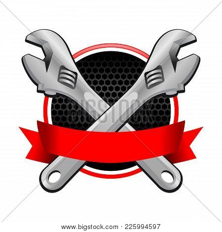 Double Wrench Cross Garage Emblem With Red Colored Ribbon Vector Object Graphic Illustration Design