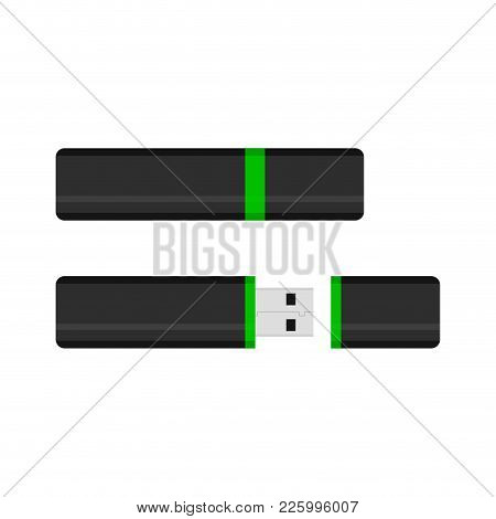 Flash Drive With Cap Open. Storage Info On Flash Drive Portable, Usb-stick Vector Illustration