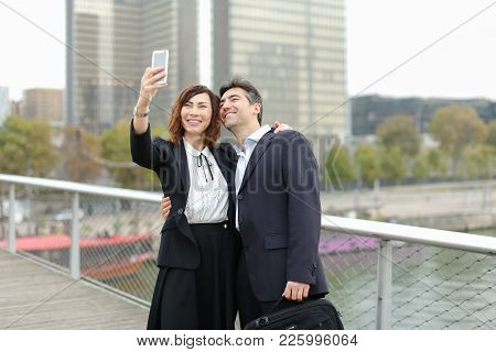 Marketer  And Hr Manager  Taking Selfie By Smartphone, Old Friends Suddenly Meet During Lunch Break.