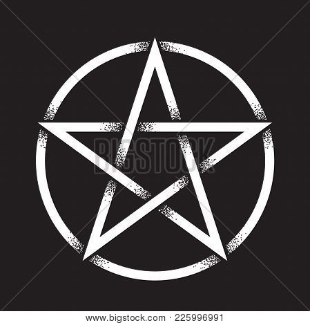 1e89ef4a57c2e Pentagram or pentalpha or pentangle. Hand drawn dot work ancient pagan  symbol of five-pointed star isolated vector illustration. Black work, flash  tattoo or ...