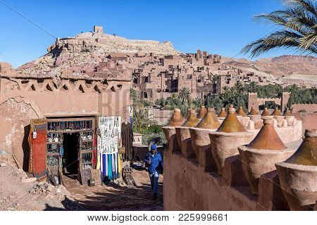 Ait Benhaddou, Morocco - December 29, 2017: The Ksar Ait Benhaddou As Viewed From The Modern Side. A