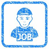 Jobless rubber seal stamp imitation. Icon vector symbol with unclean design and corrosion texture inside rounded frame. Scratched blue emblem. Dude face has happiness sentiment. poster