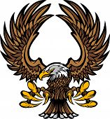 Graphic Mascot Image of a Flying Eagle with wings and Talons poster