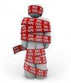 A person is wrapped up in red ribbon with the words Red Tape repeated, representing getting caught up in a mess of bureaucratic rules, regulations and procedures while trying to get something done poster