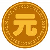 Yuan Renminbi golden digital coin icon. Vector style is a gold yellow flat coin cryptocurrency symbol. poster