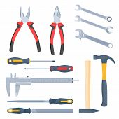 Builder, repair and construction hand tool set. Flat illustration of pliers, adjustable spanner, wrench, rasp, screwdrivers, hammers with wooden and plastic handles, caliper. Vector isolated elements. poster