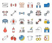 gym equipment and fitness icon, filled color thin line such as elliptical trainer, punching bag, grippers, bench, treadmill, trampoline, bicycle gym, kettle bell poster