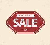 Old retro vintage sale label - red version poster