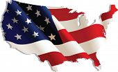 USA. Flag-map, vector illustration poster