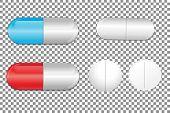 Set of color pills. Medicine painkiller pills. Vector illustration. poster