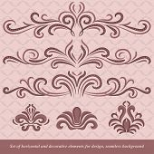 Set of horizontal and decorative vector elements for design. In vintage style. Basic elements are grouped. poster