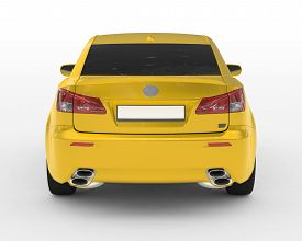 car isolated on white - yellow paint, tinted glass - back view - 3d rendering