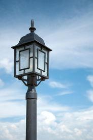 lamp on blue sky background