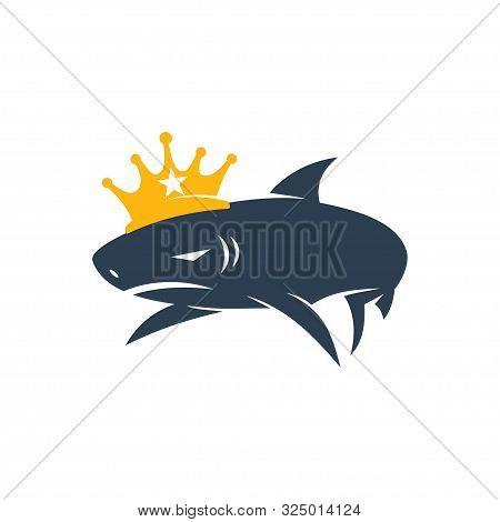 Shark King Logo Design Vector Isolated Illustration Template