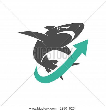 Shark Arrow Up Logo Design Vector Isolated Illustration Template