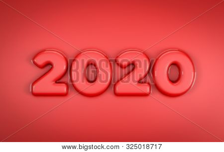 3d Illustration Of 2020 In Red Color. Smooth Beveled Text With Reflections. Ideal For Happy New Year