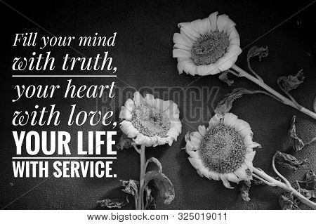 poster of Inspirational quote - Fill your mind with truth, your heart with love, your life with service. With backgroun in black and white of three sunflowers blossom.