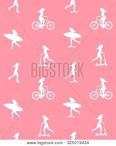 Vector Seamless Pattern Of Young Women Silhouette With Surf, Skate, Scooter And Bicycle Isolated On