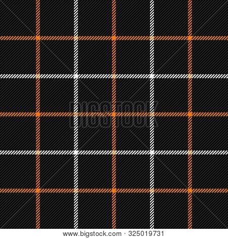 Halloween Tartan Plaid. Scottish Pattern In Black, White And Orange  Cage. Scottish Cage. Traditiona