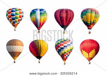 Set Of Colorful Hot Air Balloons Isolated On White Background.