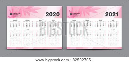 Calendar 2020-2021, Set Desk Calendar 2020-2021 Template Vector, Set Of 12 Months, Week Starts Sunda