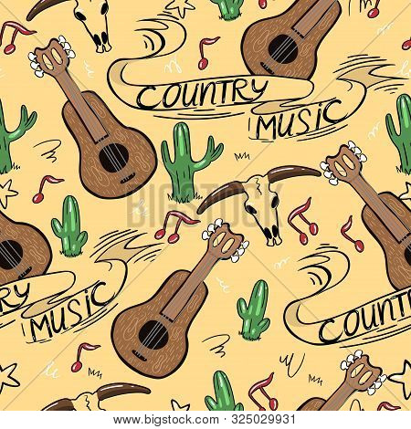 Country Music Seamless Pattern With Guitars, Cacti, Notes And Inscriptions. Vector Image