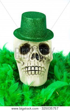 Bony Skull Wearing A Green Sparkly Hat Over White