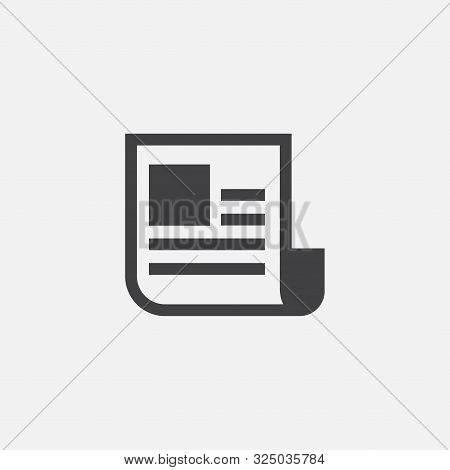 News Paper Icon Design Template, News Paper Flat Icon Vector Illustration, Document Icon